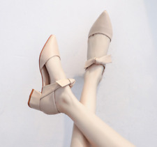 Bowknot Womens Pointed Toe Mid Cone Heels Mary Jane Office Casual Elegant Shoes