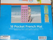 True Living 18 Pocket French Mat Swimming Pool Float Yellow NEW