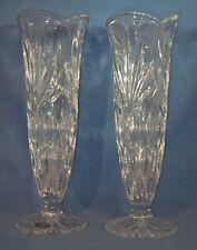"2 BOHEMIA CZECH Republic  24% Lead Crystal Glass Vases 8 1/4"""