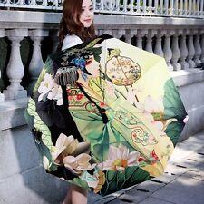 Foldable Umbrella Compact Rain/Clear Sunshade Parasol 3D Chinese Lotus Umbrella