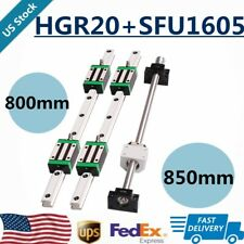 New Listing2Pcslinear Guide Rail Hgr20 800mm+Rm1605 Sfu1605 BallScrew 850mm Bk/Bf12 Set Cnc