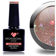 * 407 * VB ® Linea Rosa Grigio Argento Glitter UV/LED SOAK OFF NAIL GEL smalto colorato