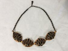 Vintage Midcentury Copper Raised Design Biomorphic Modernist Necklace