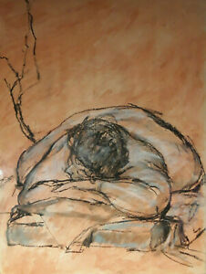 Sleeping woman: peaceful, mesmerizing charcoal mixed media by Debra K. Davalos