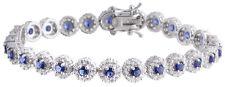 Sterling Silver 925 Womens Synthetic  Sapphire Stone Bracelet 7mm Wide