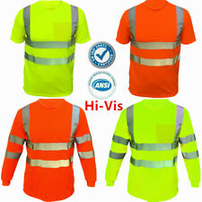 Safety Work Hi Vis High Visibility Reflective ANSI Class 3 T Shirt Long Sleeve