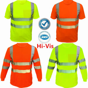 Safety Work Hi Vis High Visibility Reflective ANSI Class 3 T Shirt Long Sleeve