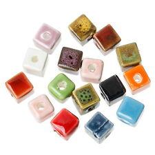 50 Mixte Perles Céramique Carré Bijoux Loisir Créatif 8x8mm