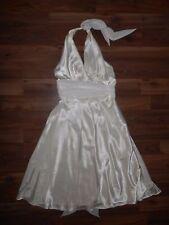Alexia Designs Womens 10 Ivory Formal Halter Knee Length Satin Evening Dress EUC