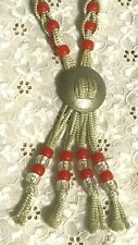 vintage WOMEN'S WESTERN BOLO TIE w/SILVER MEDALLION & RED BEADS cowboy COWGIRL