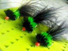 3x 3.5 T15  Black & Green Hothead  Jelly Fritz  Trout  Flies..