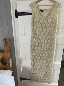 Monsoon  Hand Beaded Cream  Dress Size 14 Worn Once To A Ball. .