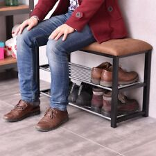 2 Tiers Home Bedroom Shoes Storage Rack Soft Seat Bench Shelf Sponge Suede Cover