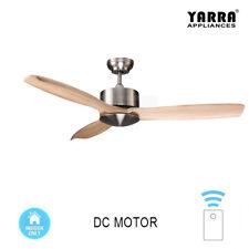 "52"" / 132CM Natural Wood Ceiling Fan DC Motor 3 Blades W/ Remote Brushed Nickel"