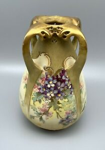 "Teplitz RStK Art Nouveau 7"" Floral Amphora Vase Serpent Dragon Heads"