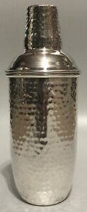 Martini Cocktail Bar Shaker Hammered Silver Plated Mexico