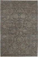 6X9 Hand-Knotted Oushak Carpet Traditional Grey Fine Wool Area Rug D55818