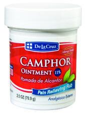 DE LA CRUZ® CAMPHOR OINTMENT 11% / POMADA DE ALCANFOR PAIN RELIEVING RUB 2.5 Oz