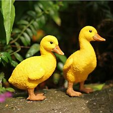 Yellow Duck Statues Handcrafted Garden Yard Lawn Patio Art Sculpture Decor 2PCS