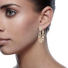 18K GOLD Filled Crystal Round Hoop Pierced Women Jewlery Party Earring 039A1