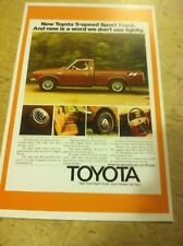 Vintage 1977 Toyota Truck  Advertisement Poster Home Decor Man Cave Gift