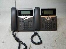Lot of 2 Cisco IP Phone CP-7821-K9 Charcoal w/ Handset & Stand Reset to Defaults