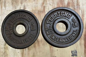 Vintage Ferrigno 5lbs Pair Olympic Weights 2 Inch