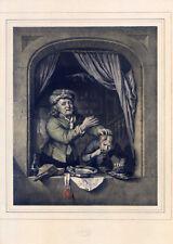 Zahnarzt-Dentist-Zahnbrecher - Gerard Dow-Große Lithographie-Hanfstaengl 1835-52