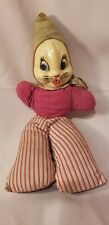 """Vintage Rabbit Cloth Doll with Rubber / Vinyl face, 14.5"""""""
