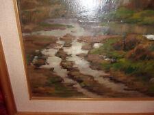 Quadro olio su tavola antico vintage paesaggio dopo la pioggia