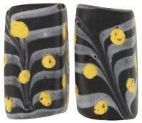 Old African trade beads rectangular Feather Fancy Venetian glass lampwork rare