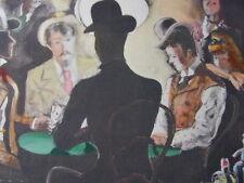 """DIGNIMONT / LITHOGRAPHIE signée """" Pocker Party """"  38x28 1946"""
