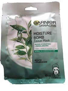 Garnier Moisture Bomb Green Tea Hydrating Face Sheet Mask for Combination Skin.