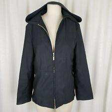 Esprit Black Hooded Full Zip Up Rain Jacket All Weather Windbreaker Womens M