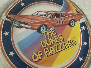 """Vintage Dukes of Hazzard General Lee Car 9"""" Paper Plates Pack Of 8 Sealed"""