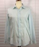 J. Jill Womens Shirt Size Small Aqua Blue Striped Long Sleeve Stretch Buttons