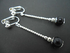 A PAIR OF LOVELY  SILVER PLATED BLACK  GLASS PEARL CLIP ON EARRINGS. NEW.