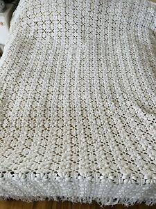 Vintage Hand Crochet Double Bedspread Afghan Squares Cotton Blanket Lace Cover