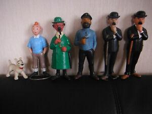 Tintin très rare série complète 6 personnages pouet pouet Sica Toys années 60