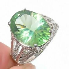 Green Amethyst & Cz 925 Sterling Silver Jewelry Ring