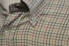 Paul Shark Yachting Sz M Shirt Button Down Beige Check Stripes Made Italy Thick