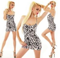 ITALY Damen Mini Kleid kurz Strandkleid Party Sommer Leopard weiß-grau 34-38