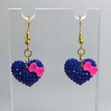 Blue Pink Bow Heart Earrings B150 4 Cm Long Kawaii Barbie Medium