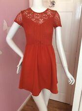 H&M Cap Sleeve Corset Design Burnt Orange Rust Lace Sexy Party Dress 10