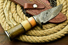 Custom Handmade Damascus Steel Blade Hunting Knife | Stained Camel Bone