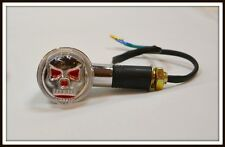 Paire de Clignotants Tête de Mort Skull Rouge pour moto custom