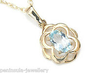 """9ct Gold Blue Topaz Celtic Pendant and 18"""" Chain Gift Boxed Necklace Made in UK"""