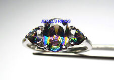 WHOLESALE 10 PCS BEAUTIFUL RAINBOW TOPAZ CZ TRIPLET RING IN STERLING SILVER