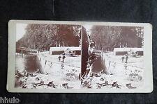 STB069 Caen L'orne laveuses quai vintage ancien photo STEREO amateur