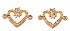 Swarovski Elements Crystal Heart Pierced Earrings Gold Plated New 7110x